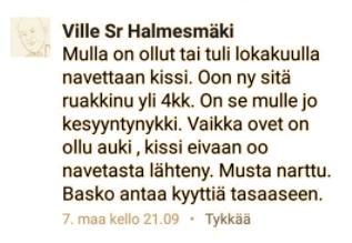 #halmesmäki #kissantappaja
